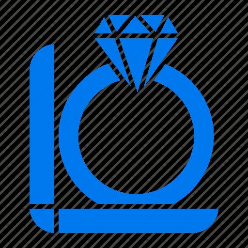 box, diamond, gift, ring icon