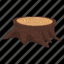 cartoon, drawing, grass, retro, signboard, stump, wood icon