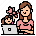 computer, daughter, kid, workfromhome, working icon