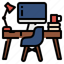 chair, computer, desk, workfromhome, workspace icon