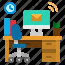 chair, desk, desktop, office, workspace icon