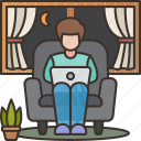 businessman, living, room, nighttime, overtime icon