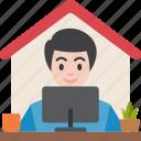 entrepreneur, home, office, working, freelance