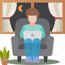 overtime, living, room, businessman, nighttime icon