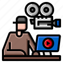 video, broadcasting, film, hobby, instructions icon