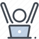 computer, done, finish, job, office, officeworking day, table icon