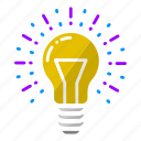 bulb, creativity, idea, innovation, light, thought, work icon