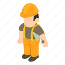 bricklayer, isometric, object, sign icon