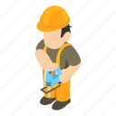 object, isometric, sign, workman icon