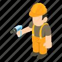 isometric, object, repairman, sign icon