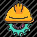 construction, gear, helmet, labor icon
