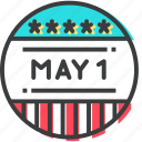 badge, day, international, may icon
