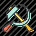communist, hammer, labor, sickle icon