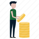 business, coins, finance, forex, income, man, money icon