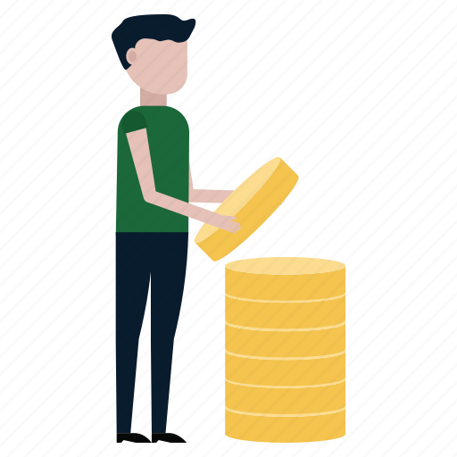 coins, finance, fold, income, man, money, stack icon