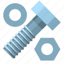bolt, construction, hardware, nut, pad, screw, tool icon