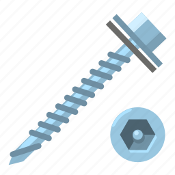 head, nut, roof, roofing, screw, secure, top icon