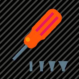 hardware, keys, multiple, screw, screwdriver, screwdrivers, tool icon
