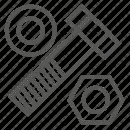 bolt, construction, hardware, nut, pad, screw, tool icon