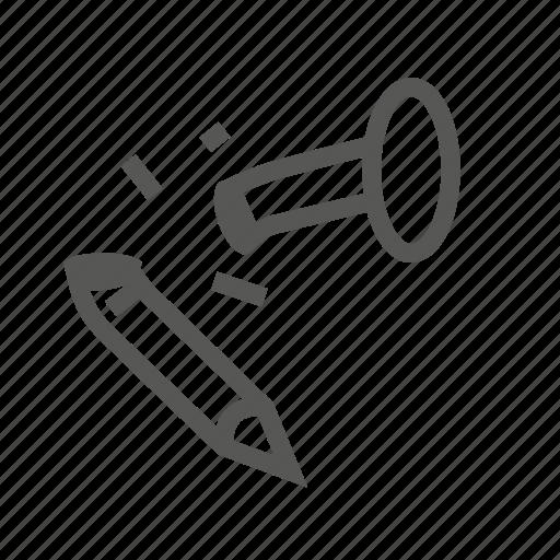 broken, damaged, hardware, nail, repair, screw, tool icon