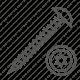 hardware, head, screw, timber, tool, top, wood icon