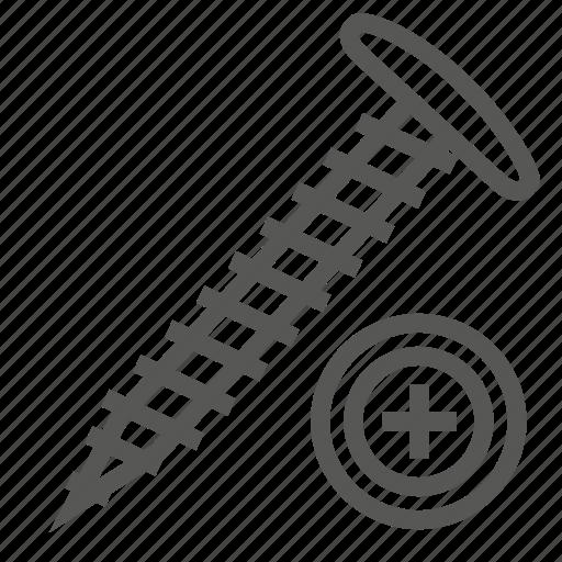 hardware, head, lumber, nut, screw, tool, wood icon
