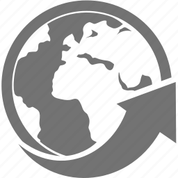 arrow, circle, global, world icon