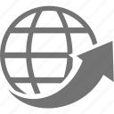 arrow, global, world, circle