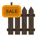 fence, garden, house, realty, sale, wood icon