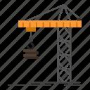 building, constructing, construction, crane, tower icon