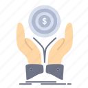 coin, dollar, hand, income, stack icon
