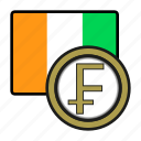 divoire, coin, exchange, franc, money, payment icon