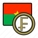 burkina, coin, exchange, franc, money, payment icon