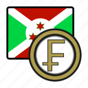coin, burundi, exchange, franc, money, payment icon