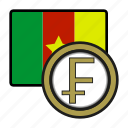 cameroon, coin, exchange, franc, payment, money icon