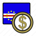 coin, exchange, escudo, money, cape verde, payment icon