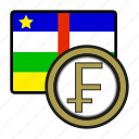 coin, exchange, franc, central africa, payment, money icon