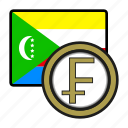coin, exchange, franc, money, comoros, payment icon