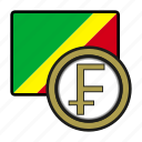 congo, coin, exchange, franc, money, payment icon