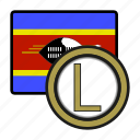 eswatini, coin, money, exchange, lilangeni, payment icon