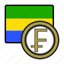 coin, exchange, gabon, franc, money, payment icon
