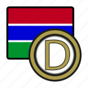 dalasi, coin, gambia, exchange, money, payment icon