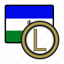 coin, exchange, loti, lesotho, money, payment icon