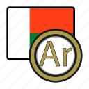 coin, exchange, ariary, madagascar, money, payment icon