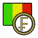 exchange, coin, mali, franc, money, payment icon
