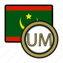 mauritania, coin, ouguiya, exchange, money, payment icon