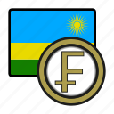 coin, exchange, rwanda, franc, money, payment icon