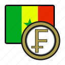 coin, exchange, senegal, franc, money, payment icon