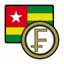 togo, coin, exchange, franc, payment, money icon