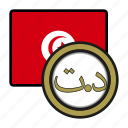 coin, tunisia, exchange, dinar, money, payment icon